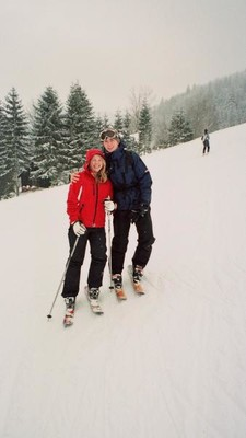 Me and my girlfriend skiing in harrachov.