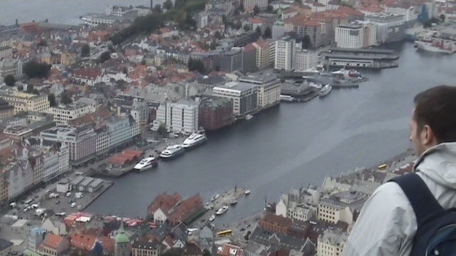 view of Bergen from the top of the funicular