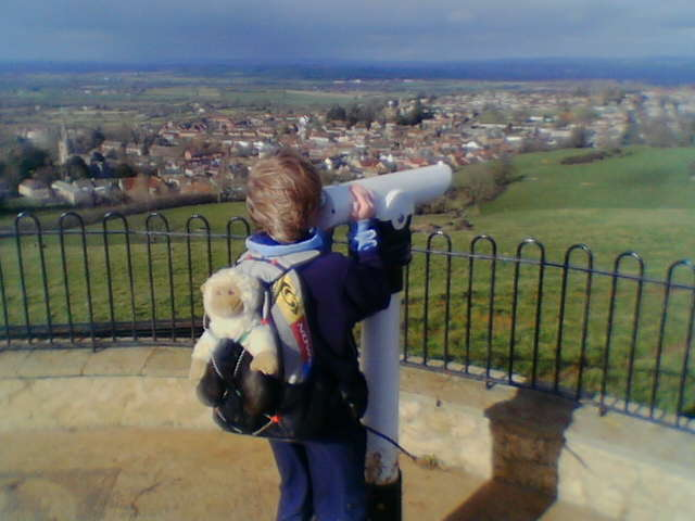 Adam looking out over Castle Cary 14/02/06