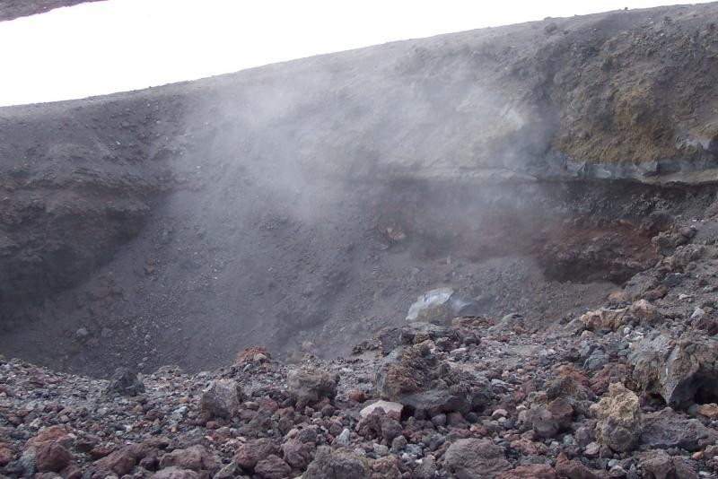 Steam from a recent crater