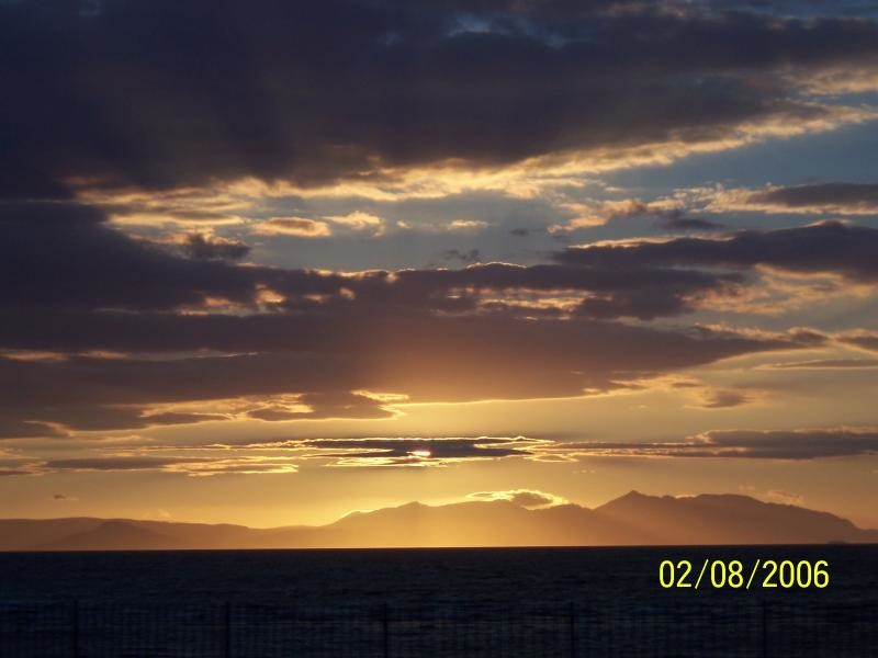 Sun setting over Arran