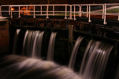 Canal Lock at night