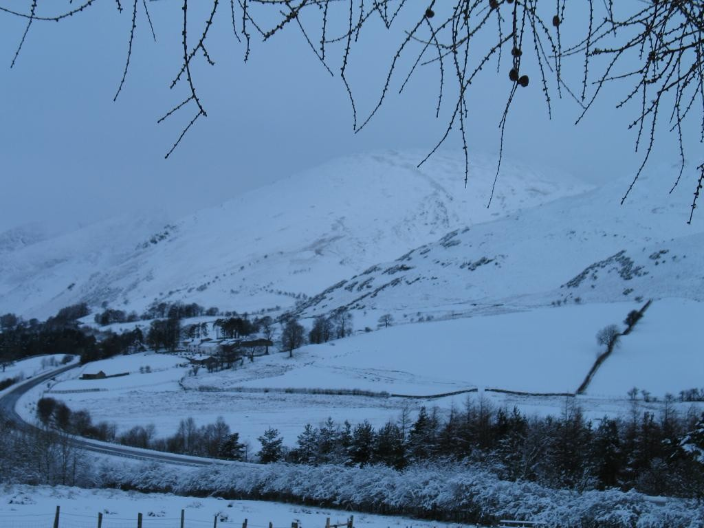 Looking down A66 towards Blencathra