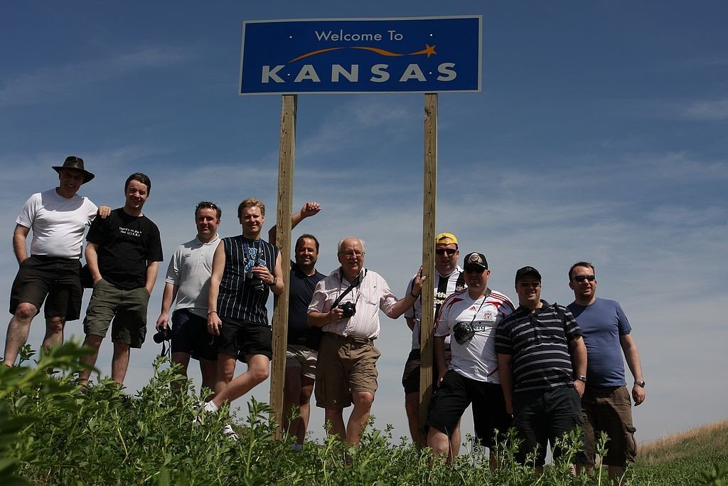 15. Netweather 2008 storm chase team and Kansas border sign
