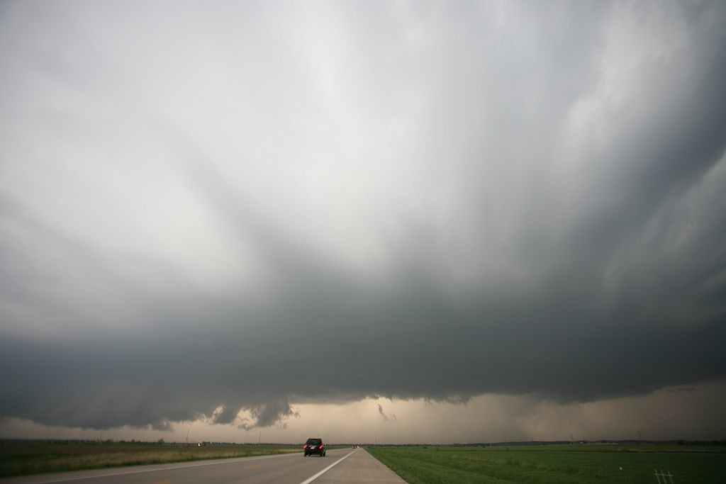 58. Cloud striation over Highway 400, near Fredonia, Kansas