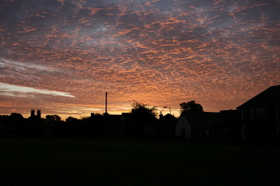 Altocumulus clouds at sunrise