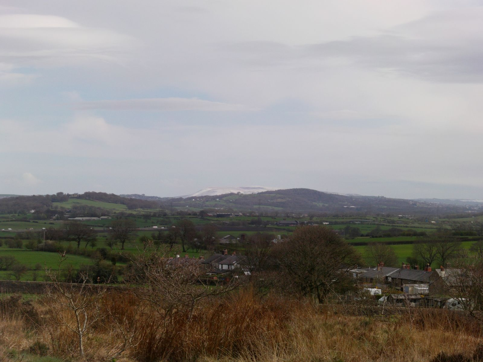quarry Pendle Hill covered in Snow.