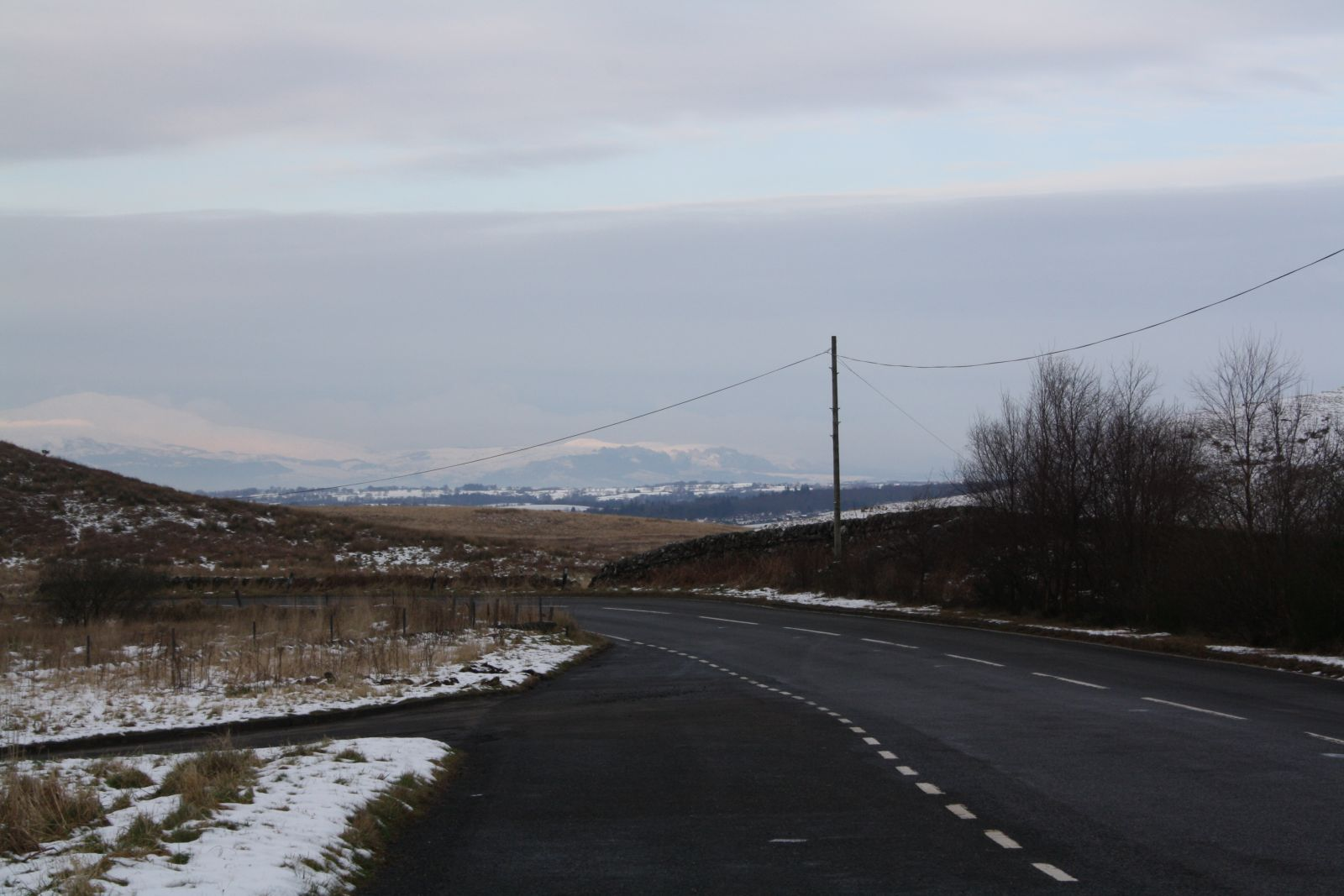 Looking north east towards the Highland Boundary Fault Line, The Trossachs and Ben Ledi