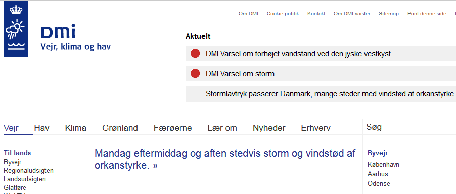 Denmark storm warning