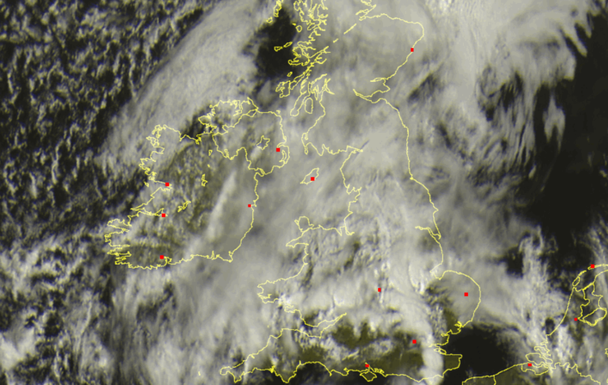 Satellite Shot Of the Squall Line Over Essex on 22nd May 2014