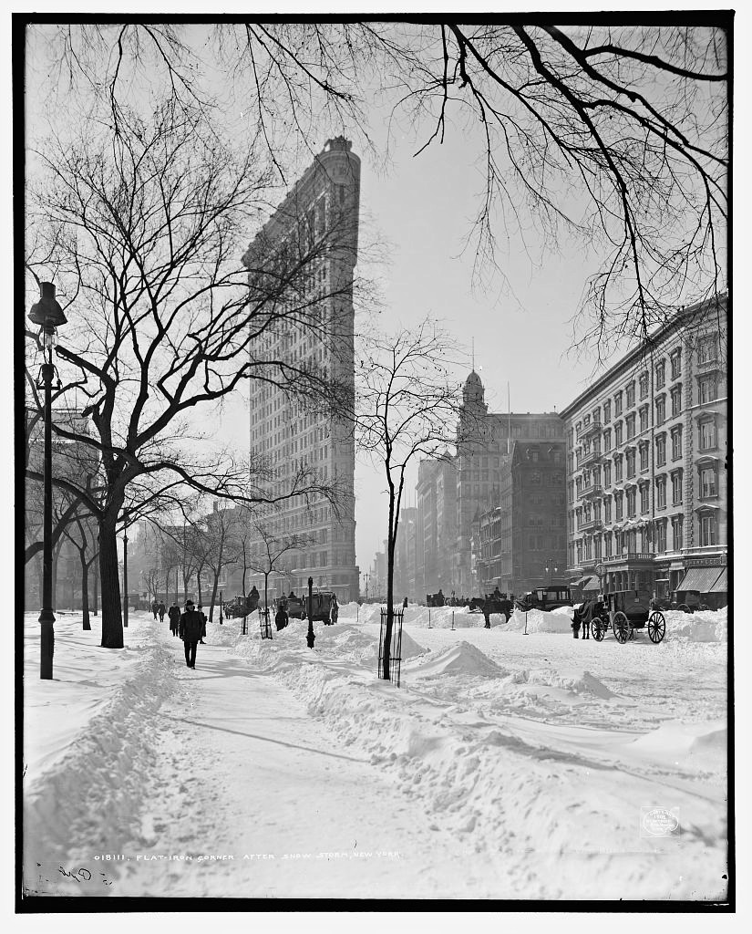 Flat-iron [i.e. Flatiron Building] corner after snow storm, New York 1905