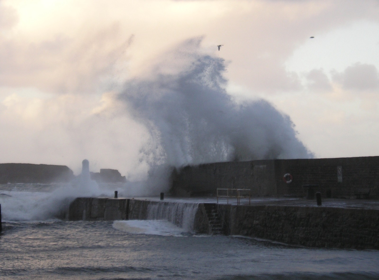 Angry sea at Cullen harbour on New Year's Day.