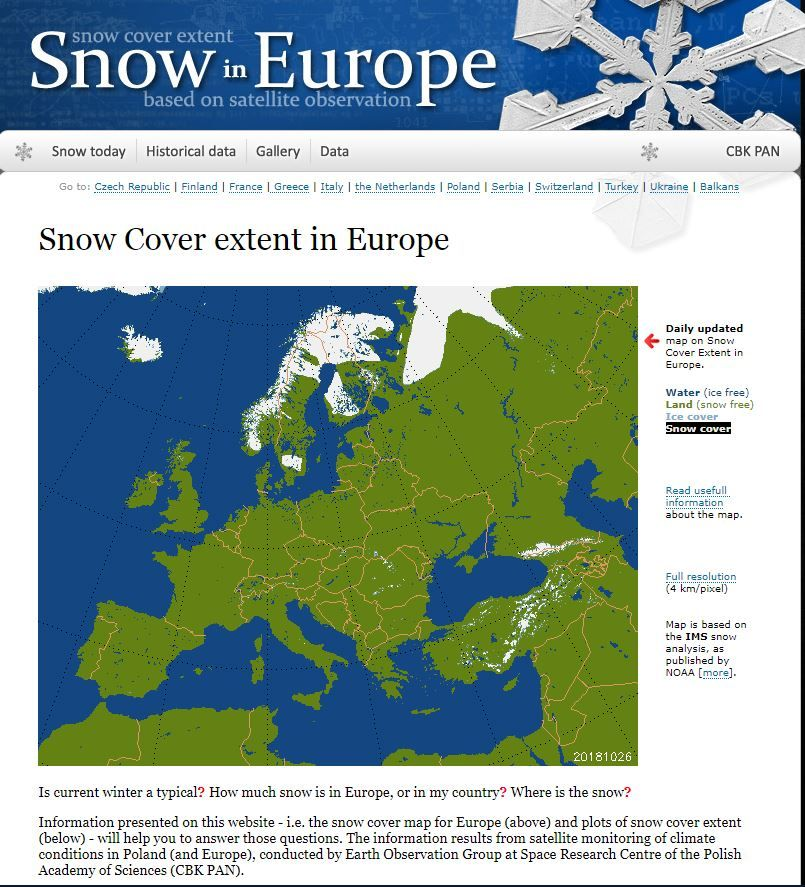 Snow Cover Map Europe.Snow Ice Coverage In The Northern Hemisphere Winter 2018 19 Page
