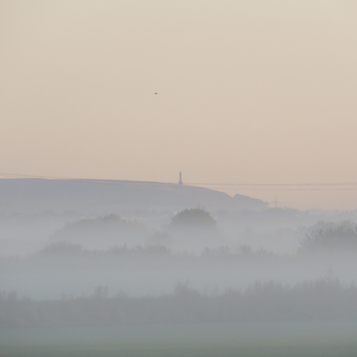 Peel Monument rises above the mists